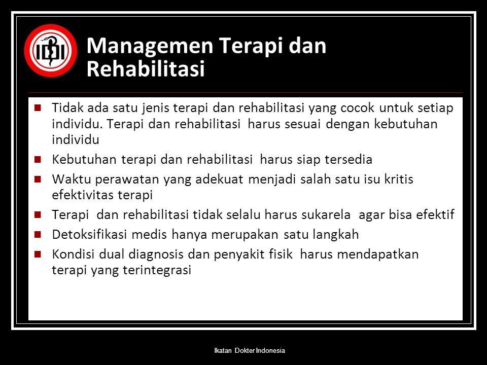 Managemen Terapi dan Rehabilitasi Tidak ada satu jenis terapi dan rehabilitasi yang cocok untuk setiap individu. Terapi dan rehabilitasi harus sesuai