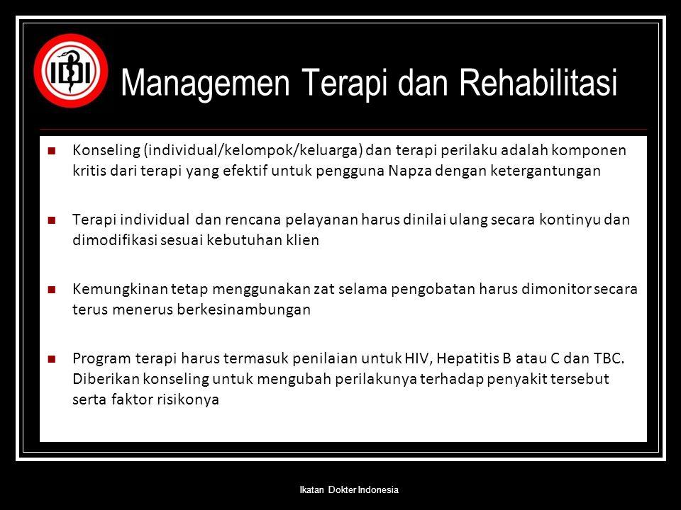 Managemen Terapi dan Rehabilitasi Konseling (individual/kelompok/keluarga) dan terapi perilaku adalah komponen kritis dari terapi yang efektif untuk p