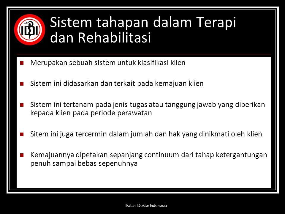 Sistem tahapan dalam Terapi dan Rehabilitasi Merupakan sebuah sistem untuk klasifikasi klien Sistem ini didasarkan dan terkait pada kemajuan klien Sis