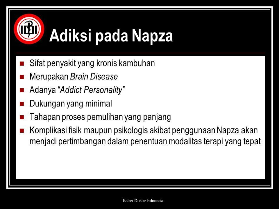 """Adiksi pada Napza Sifat penyakit yang kronis kambuhan Merupakan Brain Disease Adanya """" Addict Personality"""" Dukungan yang minimal Tahapan proses pemuli"""