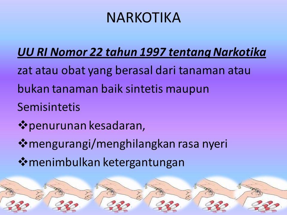 NARKOTIKA UU RI Nomor 22 tahun 1997 tentang Narkotika zat atau obat yang berasal dari tanaman atau bukan tanaman baik sintetis maupun Semisintetis  penurunan kesadaran,  mengurangi/menghilangkan rasa nyeri  menimbulkan ketergantungan
