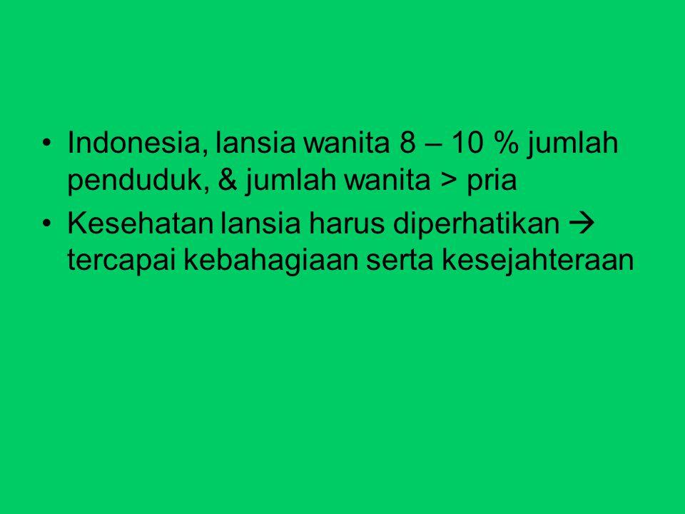 Indonesia, lansia wanita 8 – 10 % jumlah penduduk, & jumlah wanita > pria Kesehatan lansia harus diperhatikan  tercapai kebahagiaan serta kesejahtera