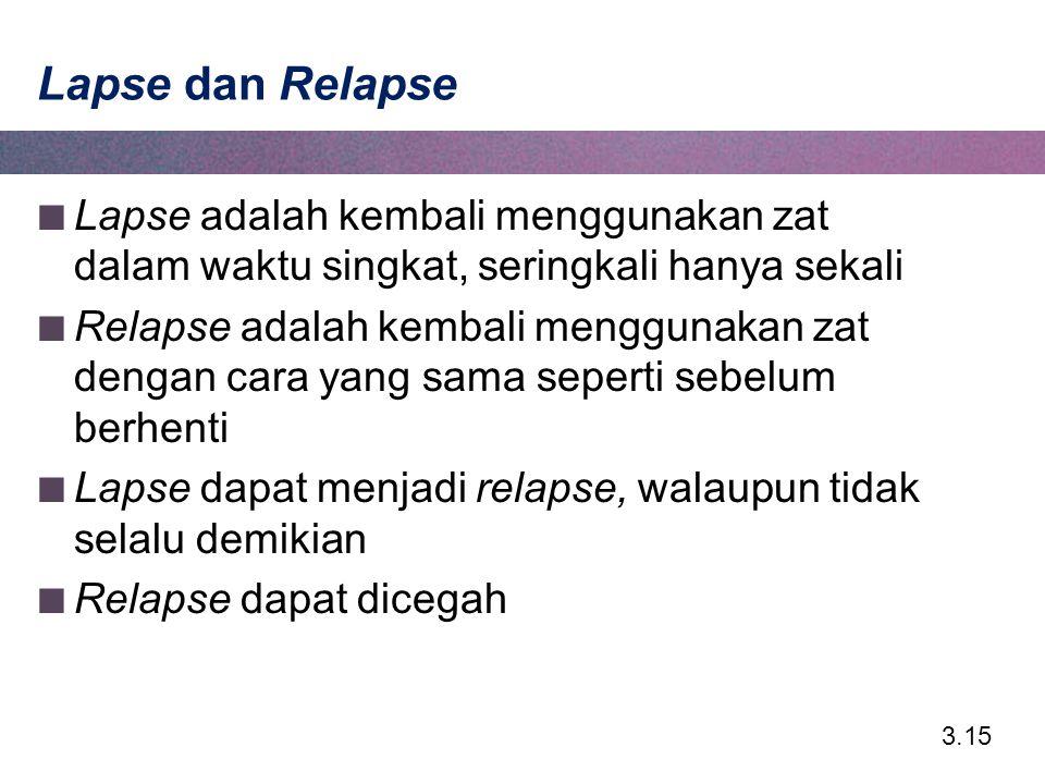 3.15 Lapse dan Relapse Lapse adalah kembali menggunakan zat dalam waktu singkat, seringkali hanya sekali Relapse adalah kembali menggunakan zat dengan