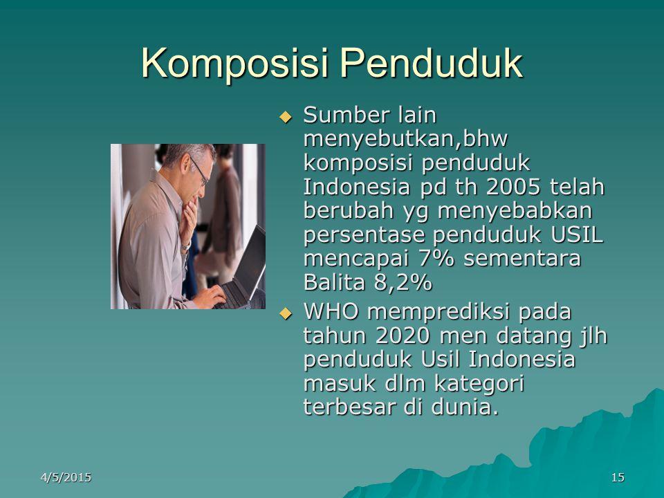 Komposisi Penduduk SSSSumber lain menyebutkan,bhw komposisi penduduk Indonesia pd th 2005 telah berubah yg menyebabkan persentase penduduk USIL me