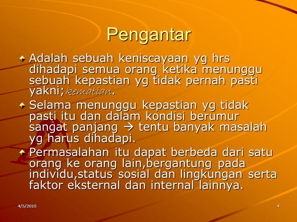 Komposisi Penduduk SSSSumber lain menyebutkan,bhw komposisi penduduk Indonesia pd th 2005 telah berubah yg menyebabkan persentase penduduk USIL mencapai 7% sementara Balita 8,2% WWWWHO memprediksi pada tahun 2020 men datang jlh penduduk Usil Indonesia masuk dlm kategori terbesar di dunia.