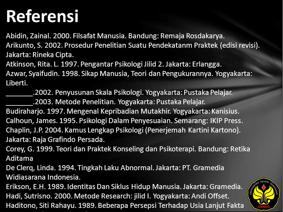 Referensi Abidin, Zainal.2000. Filsafat Manusia. Bandung: Remaja Rosdakarya.