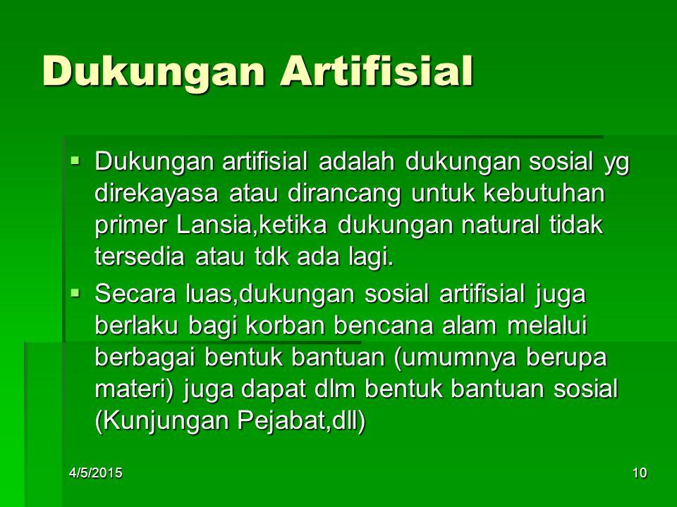 Dukungan Artifisial  Dukungan artifisial adalah dukungan sosial yg direkayasa atau dirancang untuk kebutuhan primer Lansia,ketika dukungan natural ti
