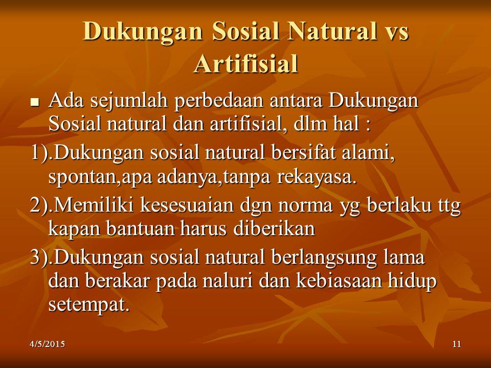 Dukungan Sosial Natural vs Artifisial Ada sejumlah perbedaan antara Dukungan Sosial natural dan artifisial, dlm hal : 1).Dukungan sosial natural bersi