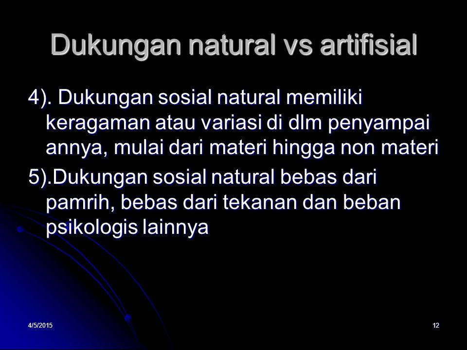 Dukungan natural vs artifisial 4). Dukungan sosial natural memiliki keragaman atau variasi di dlm penyampai annya, mulai dari materi hingga non materi