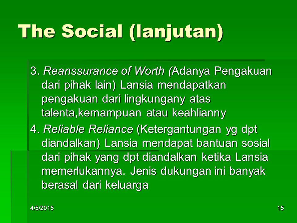 The Social (lanjutan) 3. Reanssurance of Worth (Adanya Pengakuan dari pihak lain) Lansia mendapatkan pengakuan dari lingkungany atas talenta,kemampuan