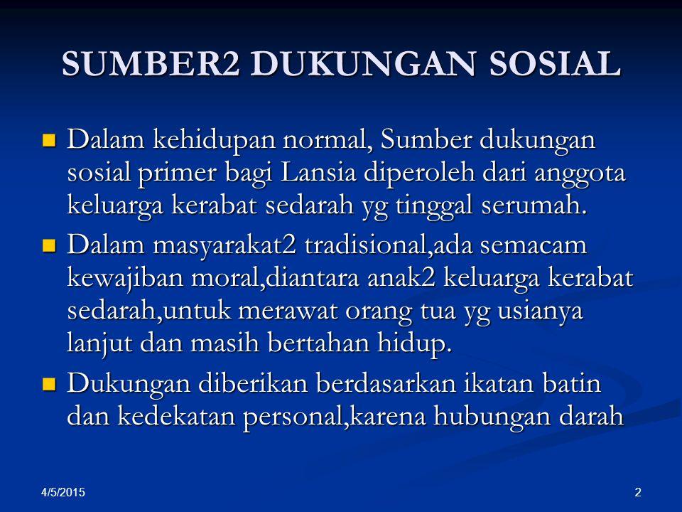 SUMBER2 DUKUNGAN SOSIAL Dalam kehidupan normal, Sumber dukungan sosial primer bagi Lansia diperoleh dari anggota keluarga kerabat sedarah yg tinggal s