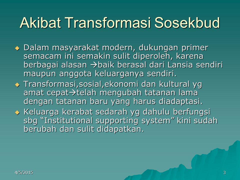Akibat Transformasi Sosekbud  Dalam masyarakat modern, dukungan primer semacam ini semakin sulit diperoleh, karena berbagai alasan  baik berasal dar
