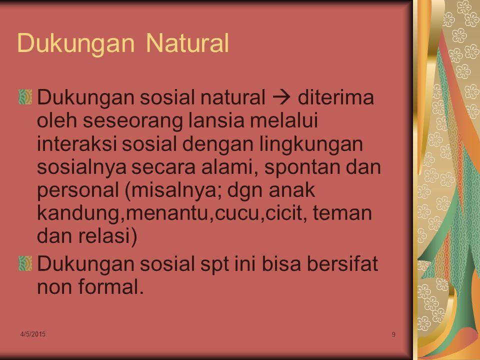 Dukungan Natural Dukungan sosial natural  diterima oleh seseorang lansia melalui interaksi sosial dengan lingkungan sosialnya secara alami, spontan d