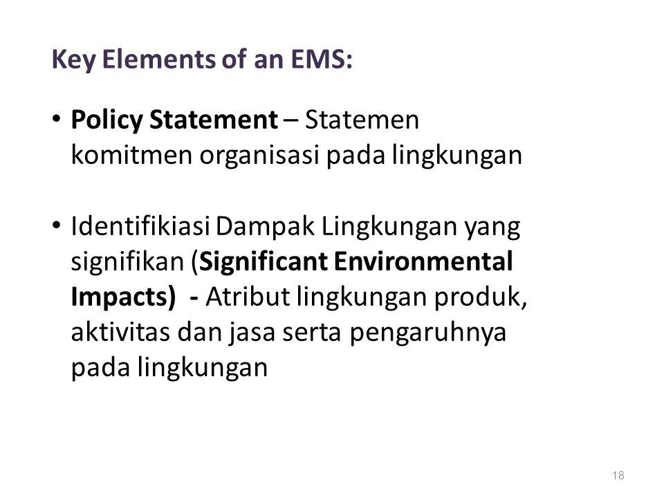 18 Key Elements of an EMS: Policy Statement – Statemen komitmen organisasi pada lingkungan Identifikiasi Dampak Lingkungan yang signifikan (Significan