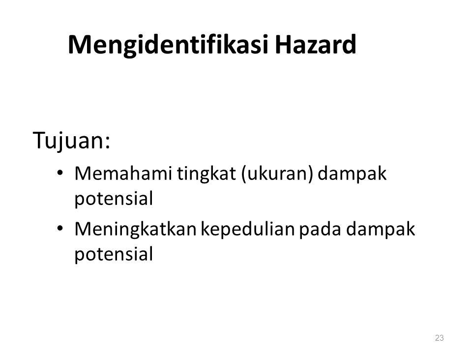 Environmental Hazards 23 Mengidentifikasi Hazard Tujuan: Memahami tingkat (ukuran) dampak potensial Meningkatkan kepedulian pada dampak potensial