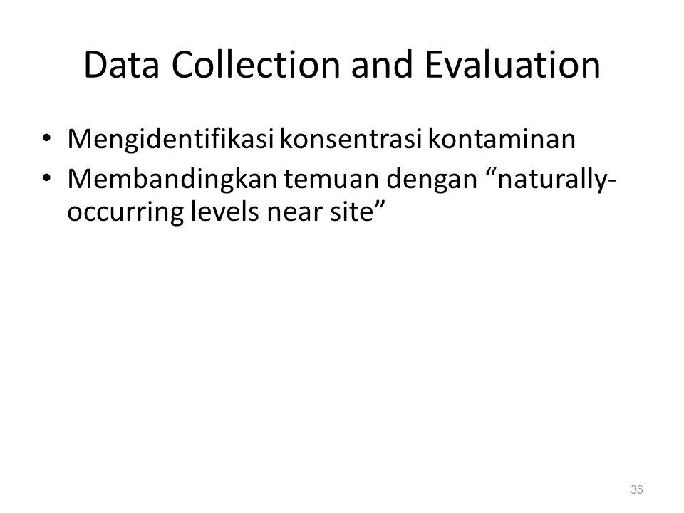 """Data Collection and Evaluation Mengidentifikasi konsentrasi kontaminan Membandingkan temuan dengan """"naturally- occurring levels near site"""" 36"""