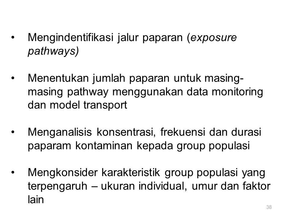Mengindentifikasi jalur paparan (exposure pathways) Menentukan jumlah paparan untuk masing- masing pathway menggunakan data monitoring dan model transport Menganalisis konsentrasi, frekuensi dan durasi paparam kontaminan kepada group populasi Mengkonsider karakteristik group populasi yang terpengaruh – ukuran individual, umur dan faktor lain 38