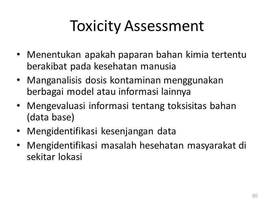 Toxicity Assessment Menentukan apakah paparan bahan kimia tertentu berakibat pada kesehatan manusia Manganalisis dosis kontaminan menggunakan berbagai model atau informasi lainnya Mengevaluasi informasi tentang toksisitas bahan (data base) Mengidentifikasi kesenjangan data Mengidentifikasi masalah hesehatan masyarakat di sekitar lokasi 60