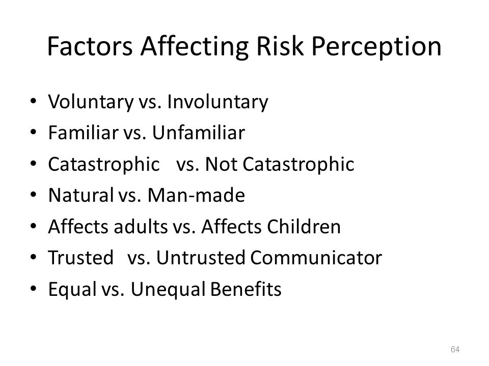 Factors Affecting Risk Perception Voluntary vs. Involuntary Familiar vs. Unfamiliar Catastrophic vs. Not Catastrophic Natural vs. Man-made Affects adu