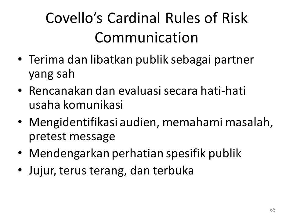 Covello's Cardinal Rules of Risk Communication Terima dan libatkan publik sebagai partner yang sah Rencanakan dan evaluasi secara hati-hati usaha komunikasi Mengidentifikasi audien, memahami masalah, pretest message Mendengarkan perhatian spesifik publik Jujur, terus terang, dan terbuka 65