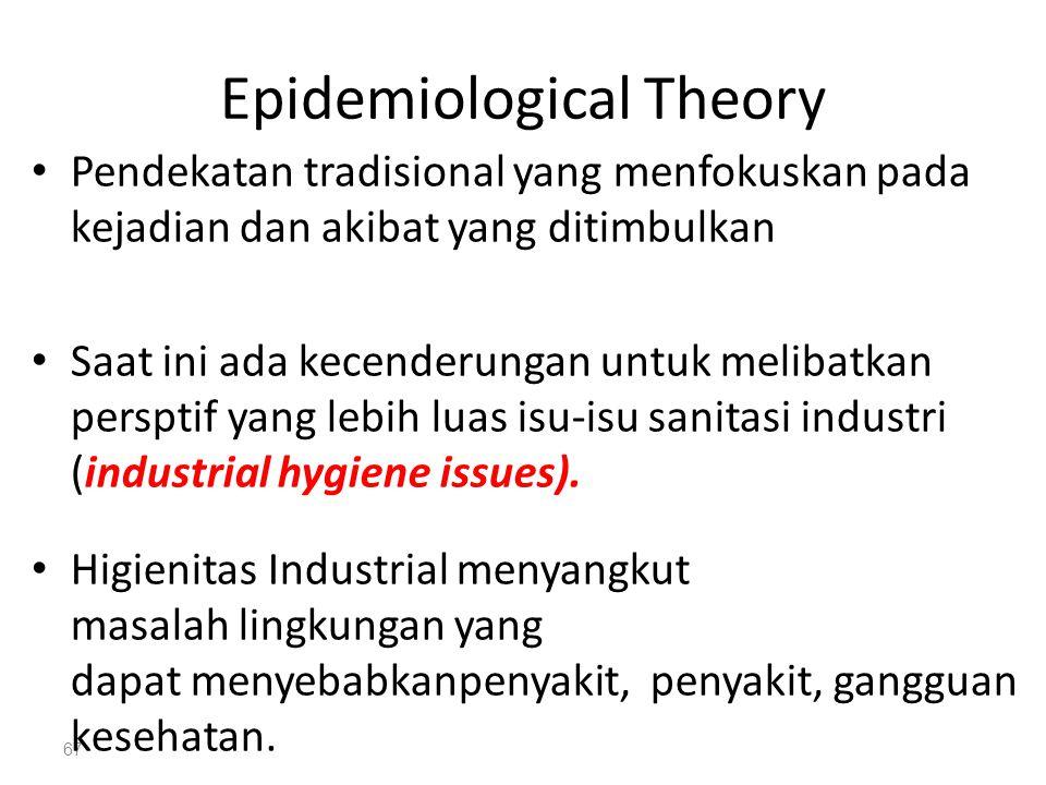 67 Epidemiological Theory Pendekatan tradisional yang menfokuskan pada kejadian dan akibat yang ditimbulkan Saat ini ada kecenderungan untuk melibatkan persptif yang lebih luas isu-isu sanitasi industri (industrial hygiene issues).