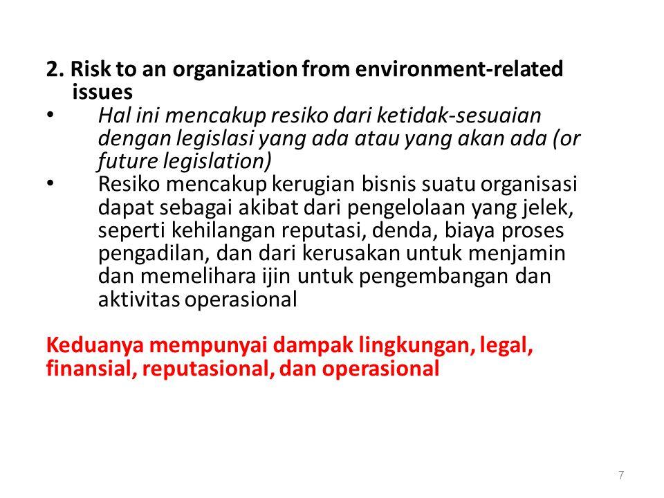 2. Risk to an organization from environment-related issues Hal ini mencakup resiko dari ketidak-sesuaian dengan legislasi yang ada atau yang akan ada