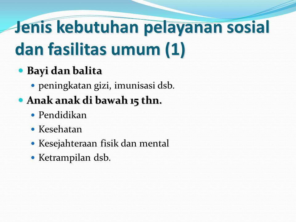 Jenis kebutuhan pelayanan sosial dan fasilitas umum (1) Bayi dan balita Bayi dan balita peningkatan gizi, imunisasi dsb.