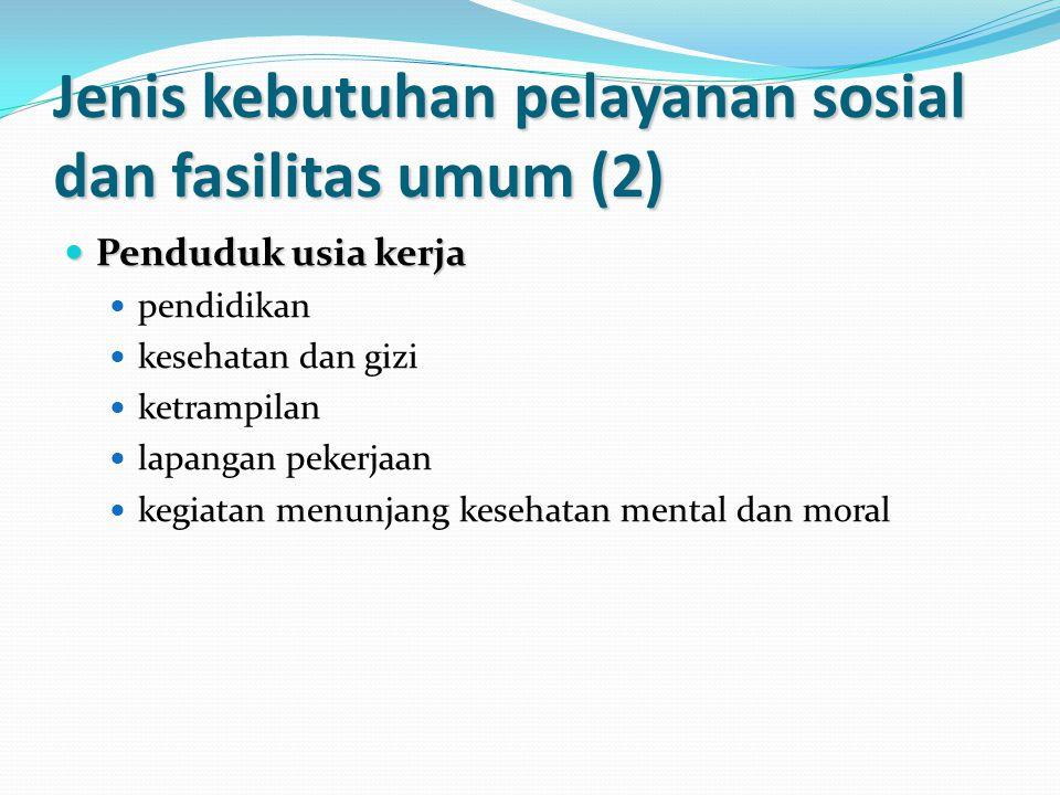 Jenis kebutuhan pelayanan sosial dan fasilitas umum (2) Penduduk usia kerja Penduduk usia kerja pendidikan kesehatan dan gizi ketrampilan lapangan pekerjaan kegiatan menunjang kesehatan mental dan moral