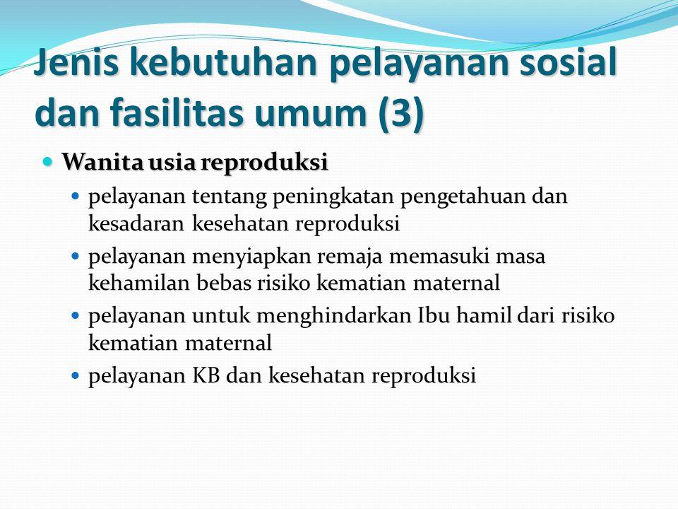 Jenis kebutuhan pelayanan sosial dan fasilitas umum (3) Wanita usia reproduksi Wanita usia reproduksi pelayanan tentang peningkatan pengetahuan dan kesadaran kesehatan reproduksi pelayanan menyiapkan remaja memasuki masa kehamilan bebas risiko kematian maternal pelayanan untuk menghindarkan Ibu hamil dari risiko kematian maternal pelayanan KB dan kesehatan reproduksi
