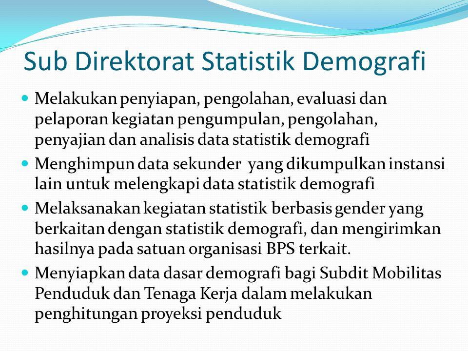 Sub Direktorat Statistik Ketenagakerjaan Melakukan penyiapan, pengolahan, evaluasi dan pelaporan kegiatan pengumpulan, pengolahan, penyajian dan analisis data statistik ketenagakerjaan Menghimpun data sekunder yang dikumpulkan instansi lain untuk melengkapi data statistik ketenagakerjaan Melaksanakan kegiatan statistik berbasis gender yang berkaitan dengan statistik ketenagakerjaan, dan mengirimkan hasilnya pada satuan organisasi BPS terkait.