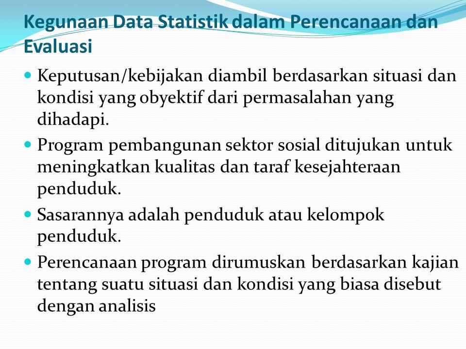 Kegunaan Data Statistik dalam Perencanaan dan Evaluasi Perlu data hasil sensus atau survei yang merupakan gambaran situasi dan kondisi yang obyektif.