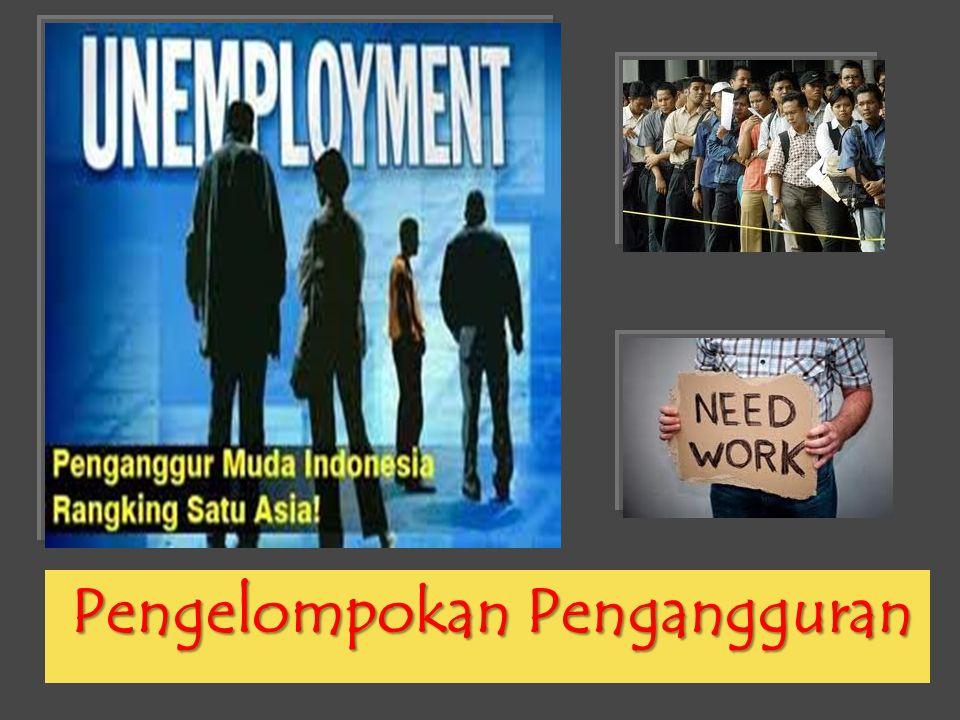 Berdasarkan Jam Bekerja Berdasarkan jam kerja, pengangguran dikelompokkan menjadi 3 macam: 1.Pengangguran Terselubung (Disguised Unemployment) adalah tenaga kerja yang tidak bekerja secara optimal karena suatu alasan tertentu.