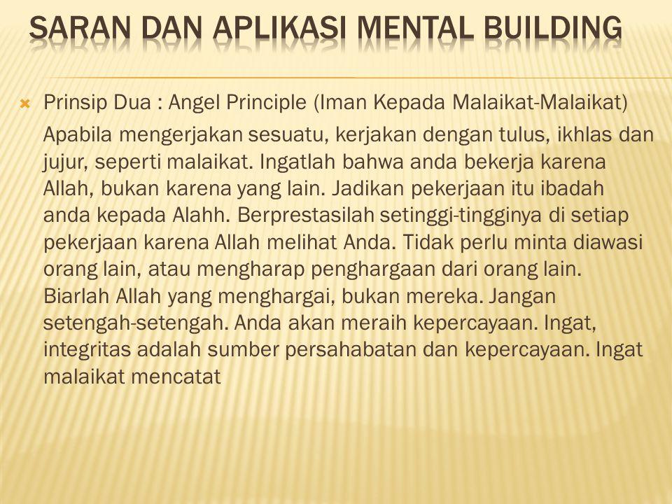  Prinsip Dua : Angel Principle (Iman Kepada Malaikat-Malaikat) Apabila mengerjakan sesuatu, kerjakan dengan tulus, ikhlas dan jujur, seperti malaikat
