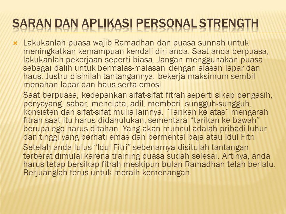  Lakukanlah puasa wajib Ramadhan dan puasa sunnah untuk meningkatkan kemampuan kendali diri anda. Saat anda berpuasa, lakukanlah pekerjaan seperti bi