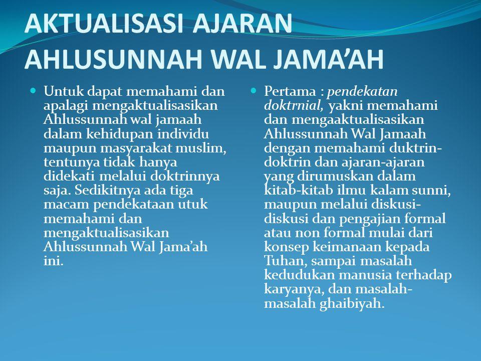 Sistem Bermadzhab Fiqh Imam Syafi'i Imam Malik Imam Abu Hanifah Imam Ahmad bin Hanbal Tashawwuf Imam al-Ghazali Imam Junaid Al-Baghdadi Tauhid Imam Ab