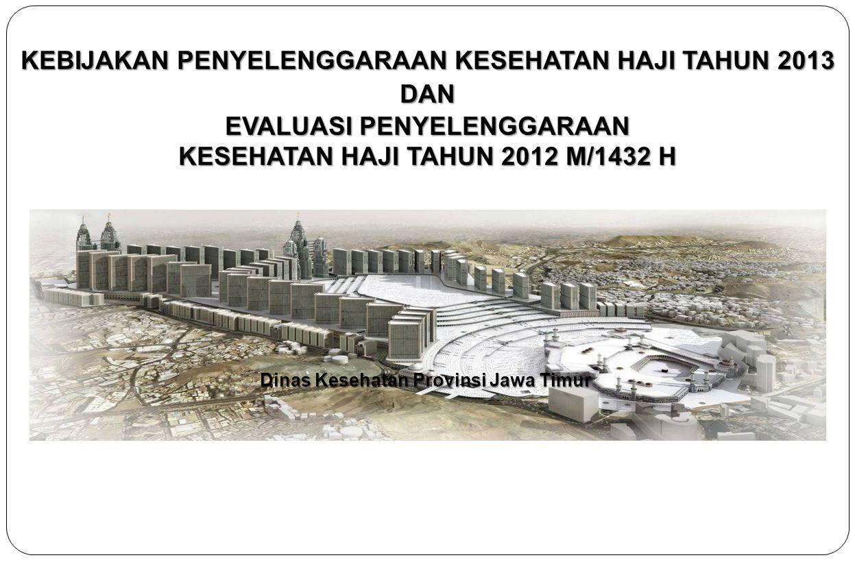 KEBIJAKAN PENYELENGGARAAN KESEHATAN HAJI TAHUN 2013 DAN EVALUASI PENYELENGGARAAN KESEHATAN HAJI TAHUN 2012 M/1432 H Dinas Kesehatan Provinsi Jawa Timu