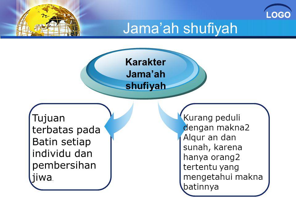 LOGO Jama'ah shufiyah Tujuan terbatas pada Batin setiap individu dan pembersihan jiwa. Karakter Jama'ah shufiyah Kurang peduli dengan makna2 Alqur an