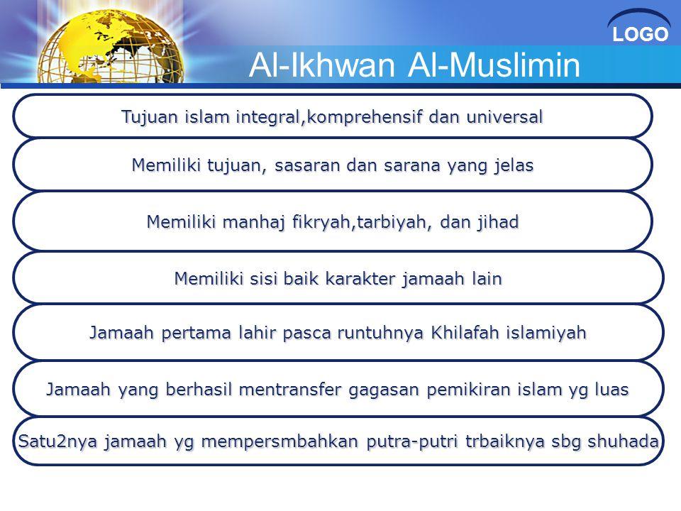 LOGO Al-Ikhwan Al-Muslimin Tujuan islam integral,komprehensif dan universal Memiliki tujuan, sasaran dan sarana yang jelas Memiliki manhaj fikryah,tar