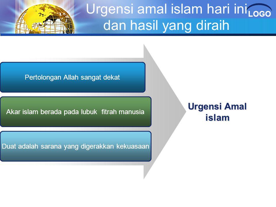 LOGO Urgensi amal islam hari ini dan hasil yang diraih Pertolongan Allah sangat dekat Akar islam berada pada lubuk fitrah manusia Duat adalah sarana y
