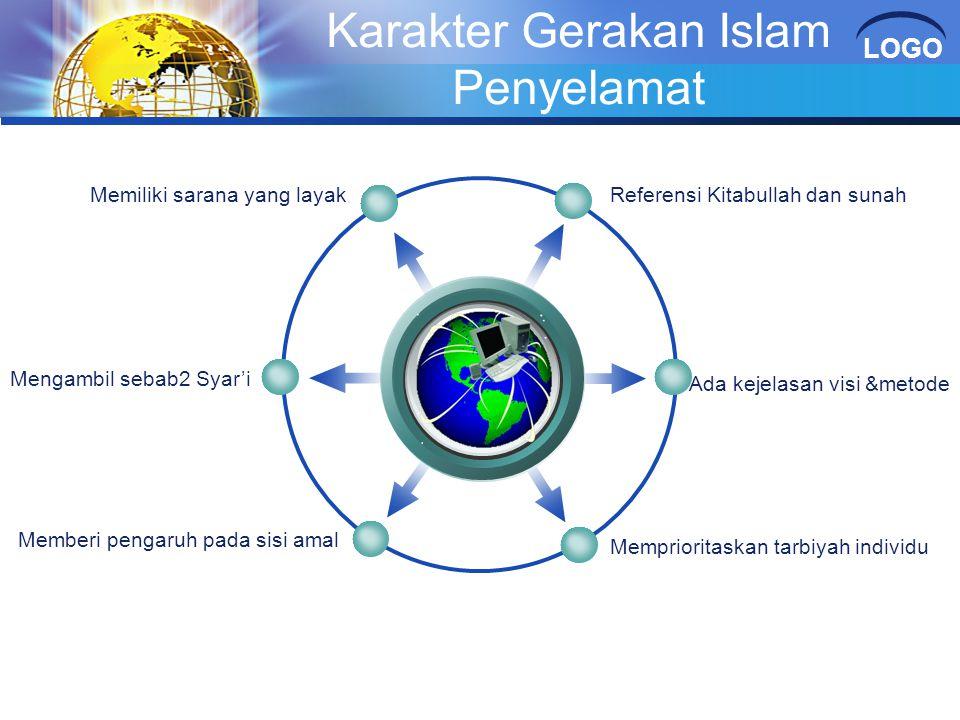 LOGO Karakter Gerakan Islam Penyelamat karakter Referensi Kitabullah dan sunahMemiliki sarana yang layak Ada kejelasan visi &metode Memprioritaskan ta