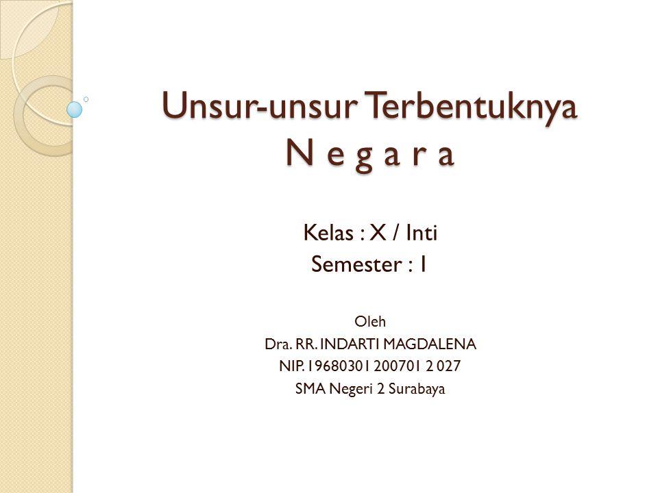 Unsur-unsur Terbentuknya N e g a r a Kelas : X / Inti Semester : 1 Oleh Dra. RR. INDARTI MAGDALENA NIP. 19680301 200701 2 027 SMA Negeri 2 Surabaya