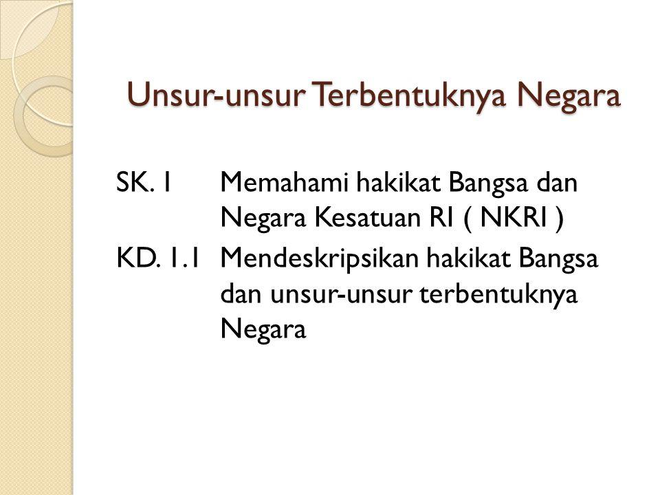 Unsur-unsur Terbentuknya Negara SK. 1Memahami hakikat Bangsa dan Negara Kesatuan RI ( NKRI ) KD. 1.1Mendeskripsikan hakikat Bangsa dan unsur-unsur ter