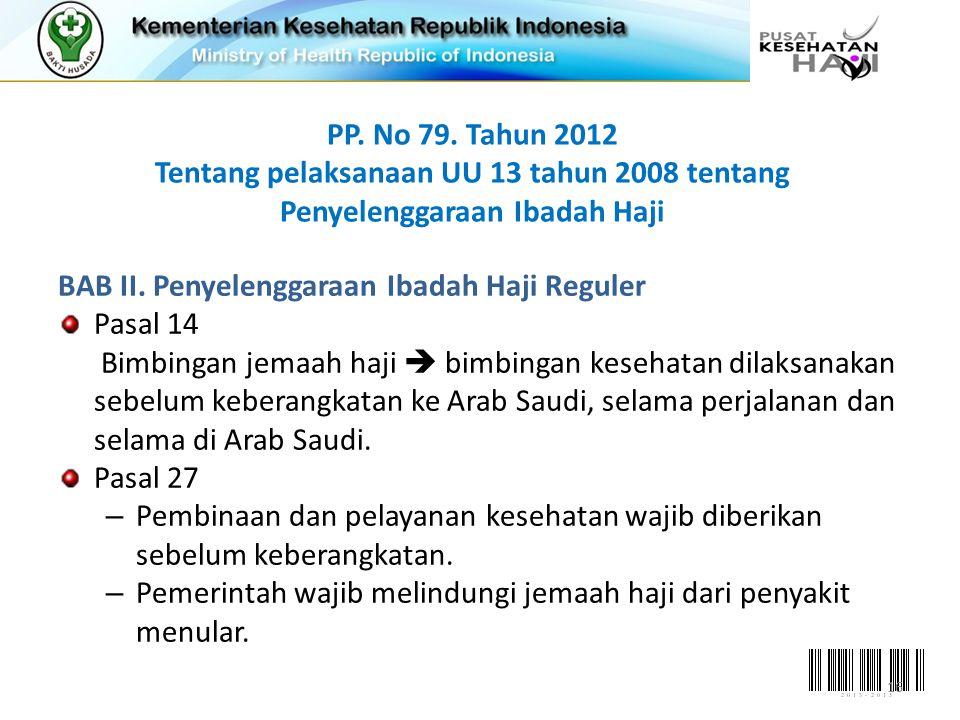 PP. No 79. Tahun 2012 Tentang pelaksanaan UU 13 tahun 2008 tentang Penyelenggaraan Ibadah Haji BAB II. Penyelenggaraan Ibadah Haji Reguler Pasal 14 Bi