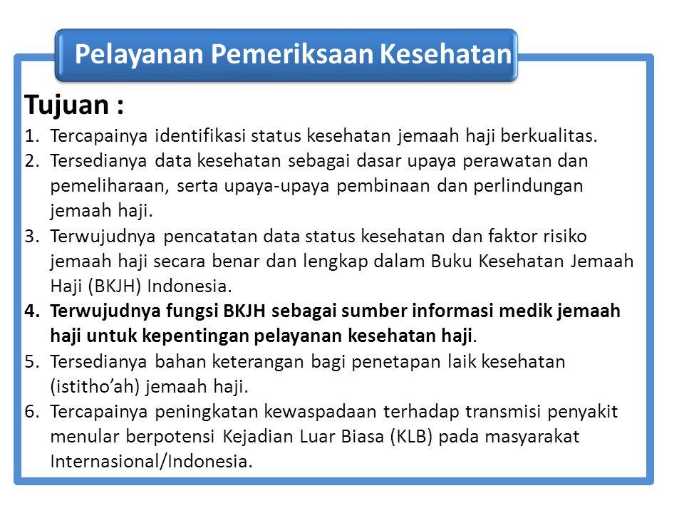 Tujuan : 1.Tercapainya identifikasi status kesehatan jemaah haji berkualitas. 2.Tersedianya data kesehatan sebagai dasar upaya perawatan dan pemelihar