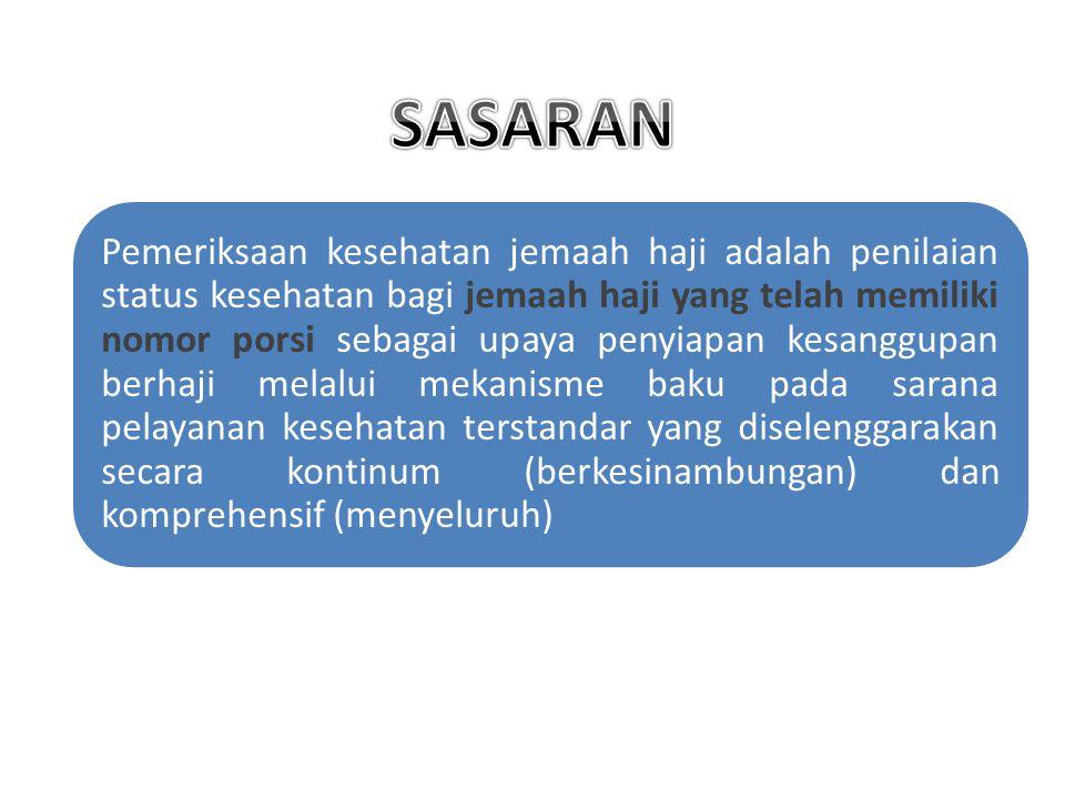 Pemeriksaan kesehatan jemaah haji adalah penilaian status kesehatan bagi jemaah haji yang telah memiliki nomor porsi sebagai upaya penyiapan kesanggup