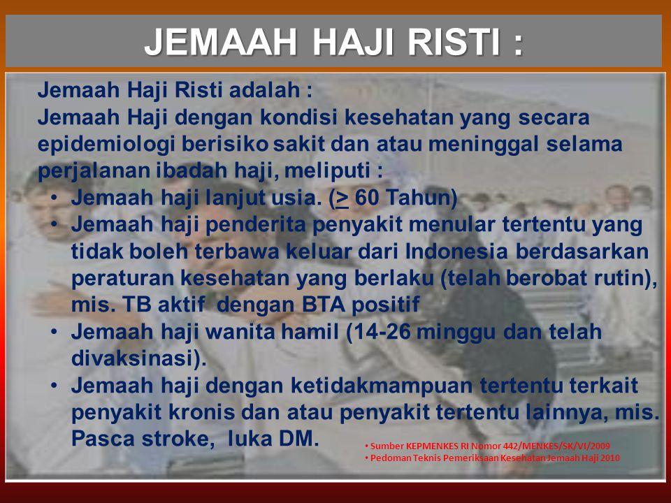 JEMAAH HAJI RISTI : Jemaah Haji Risti adalah : Jemaah Haji dengan kondisi kesehatan yang secara epidemiologi berisiko sakit dan atau meninggal selama