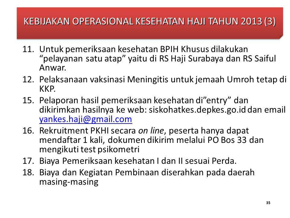 """35 11.Untuk pemeriksaan kesehatan BPIH Khusus dilakukan """"pelayanan satu atap"""" yaitu di RS Haji Surabaya dan RS Saiful Anwar. 12.Pelaksanaan vaksinasi"""