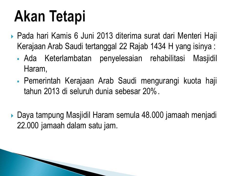  Pada hari Kamis 6 Juni 2013 diterima surat dari Menteri Haji Kerajaan Arab Saudi tertanggal 22 Rajab 1434 H yang isinya :  Ada Keterlambatan penyel