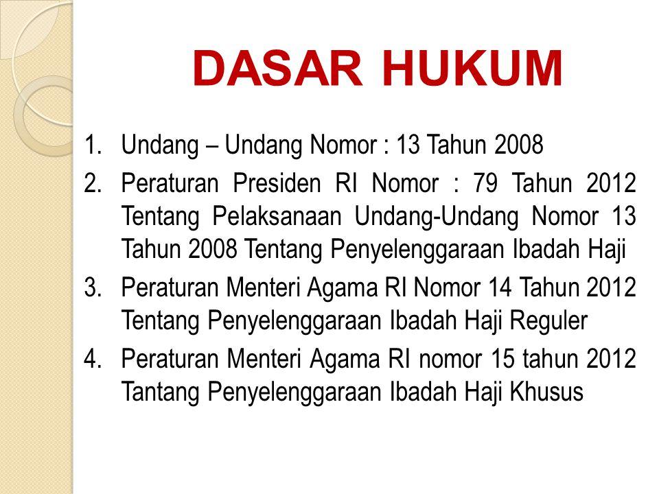 DASAR HUKUM 1.Undang – Undang Nomor : 13 Tahun 2008 2.Peraturan Presiden RI Nomor : 79 Tahun 2012 Tentang Pelaksanaan Undang-Undang Nomor 13 Tahun 200