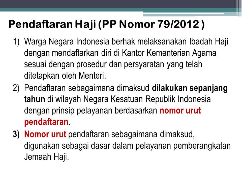 Pendaftaran Haji (PP Nomor 79/2012 ) 1)Warga Negara Indonesia berhak melaksanakan Ibadah Haji dengan mendaftarkan diri di Kantor Kementerian Agama ses